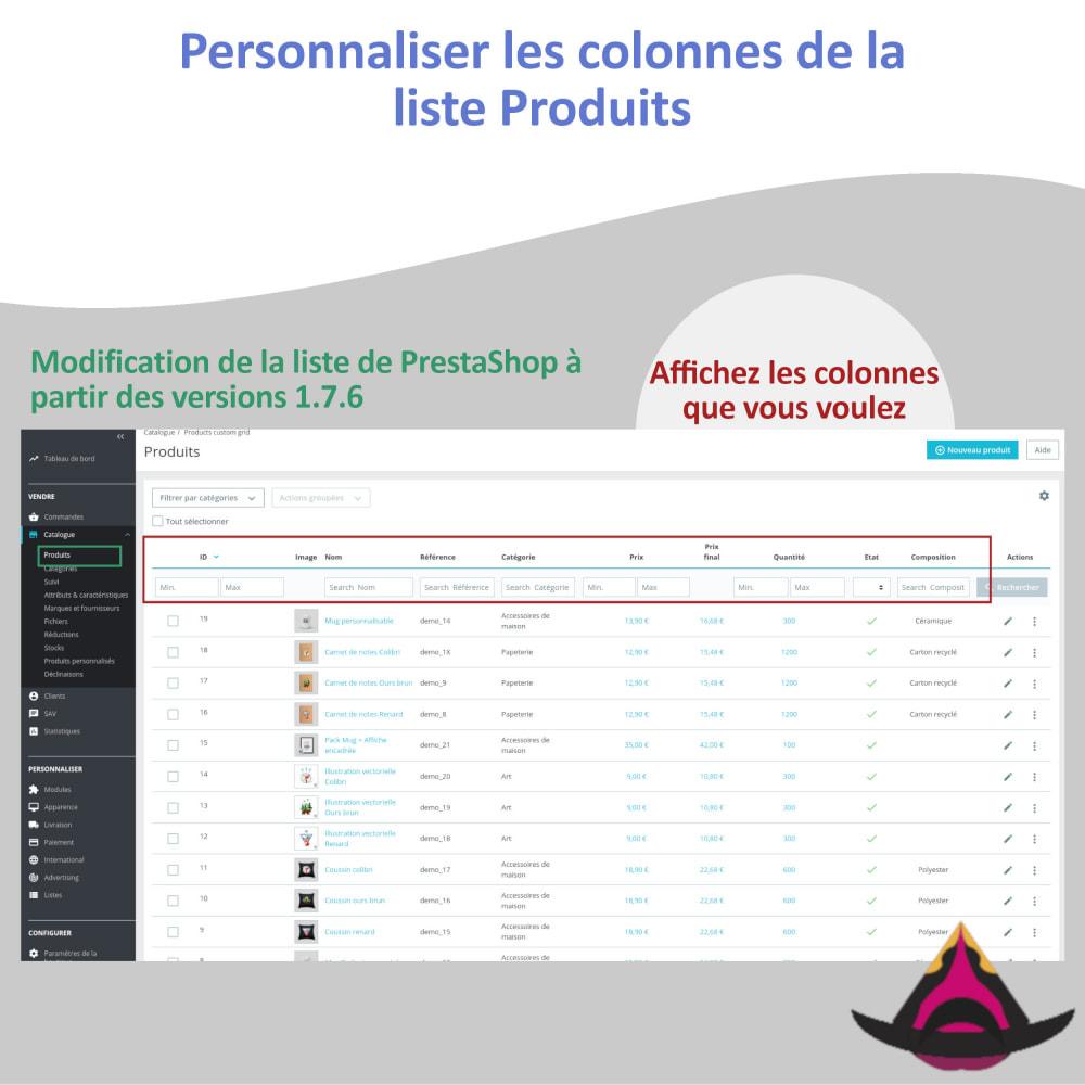 module - Outils d'administration - Personnaliser les colonnes de la liste Produits - 2