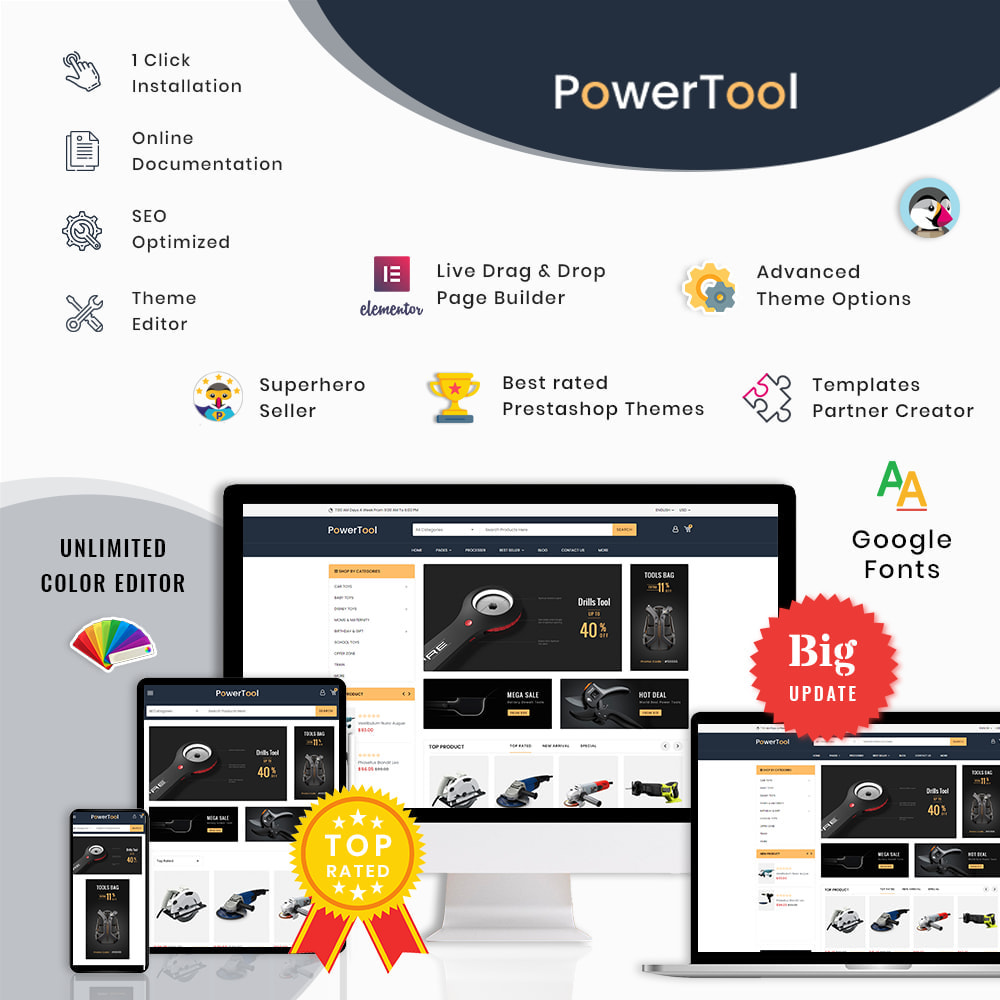 theme - Autos & Motorräder - PowerTool Store - Elementor Page builder - 1