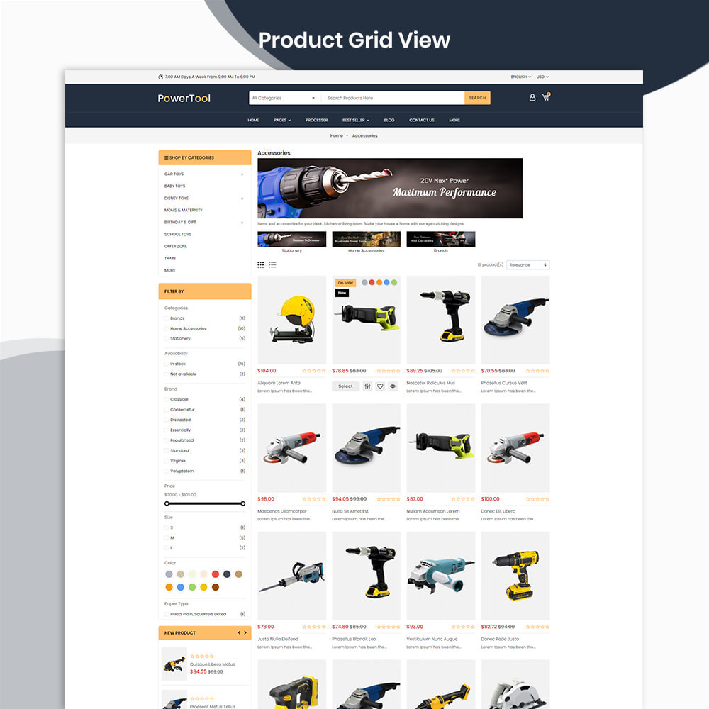 theme - Autos & Motorräder - PowerTool Store - Elementor Page builder - 3