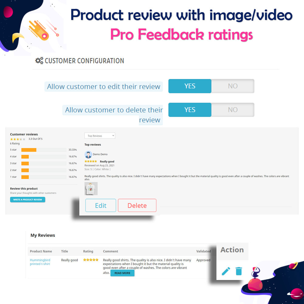 module - Customer Reviews - Product review with image/video Pro Feedback ratings - 5