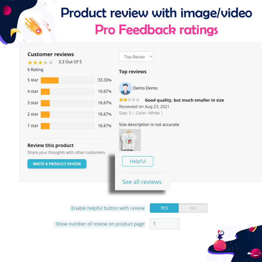 module - Customer Reviews - Product review with image/video Pro Feedback ratings - 12