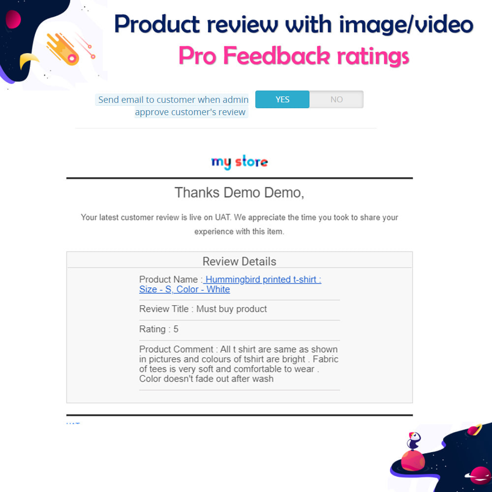 module - Customer Reviews - Product review with image/video Pro Feedback ratings - 15
