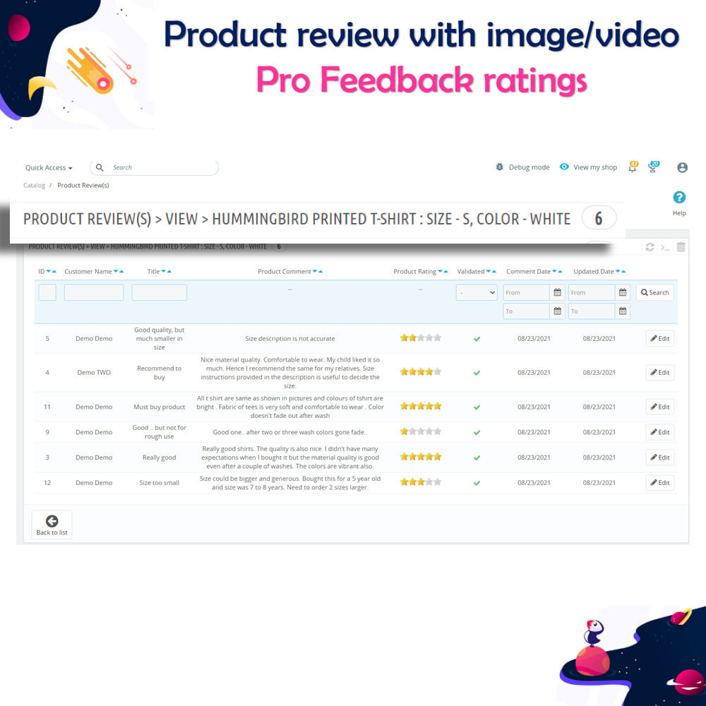 module - Customer Reviews - Product review with image/video Pro Feedback ratings - 17