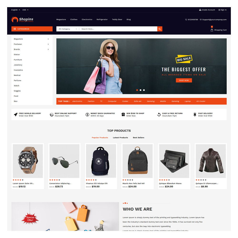 theme - Fashion & Shoes - Shopins Online Mega Store - 2