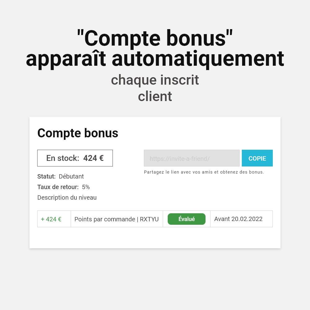 module - Fidélisation & Parrainage - Système de bonus cashback - 2