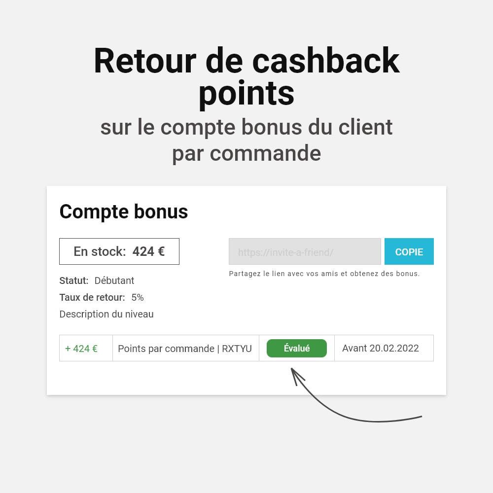 module - Fidélisation & Parrainage - Système de bonus cashback - 8