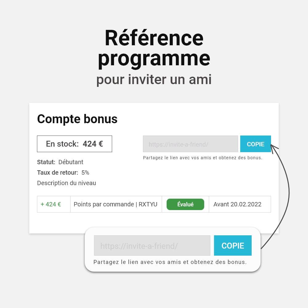 module - Fidélisation & Parrainage - Système de bonus cashback - 10