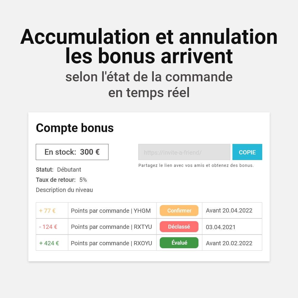 module - Fidélisation & Parrainage - Système de bonus cashback - 17
