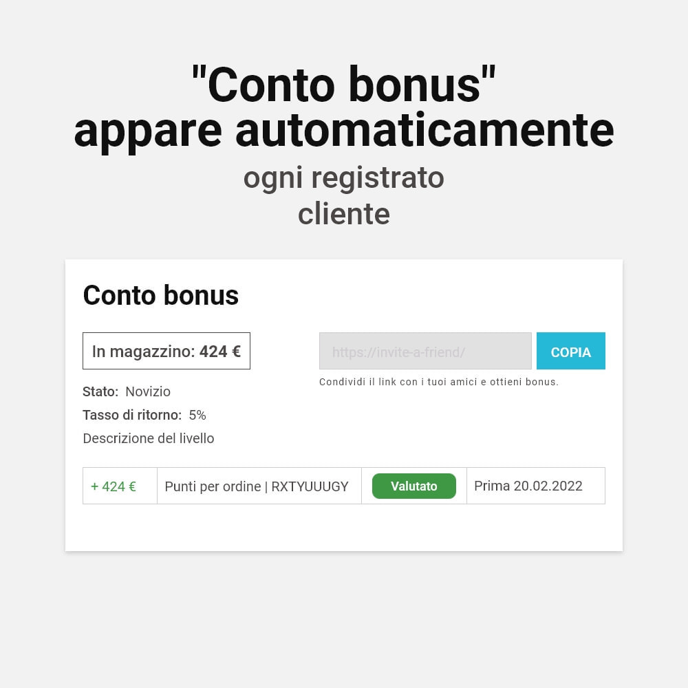 module - Programmi fedeltà & Affiliazione - Sistema bonus cashback - 2
