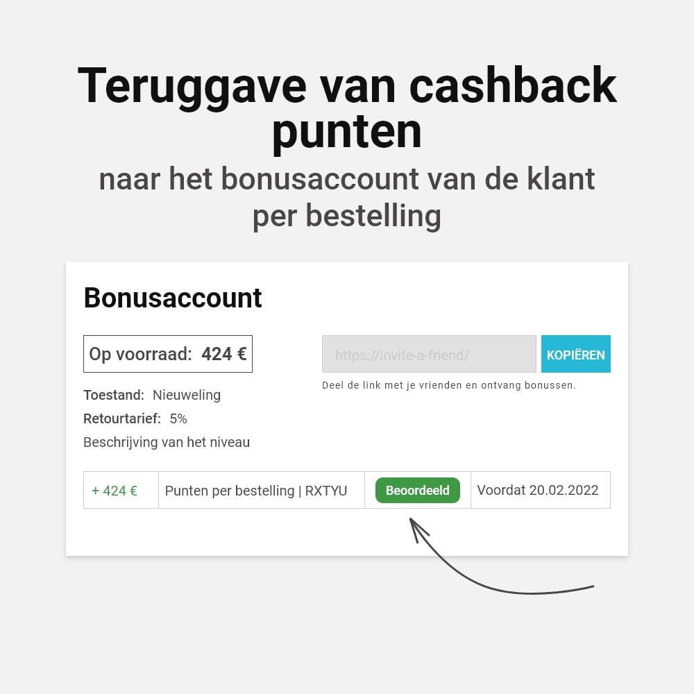 module - Loyaliteitsprogramma - Bonus cashback systeem - 8