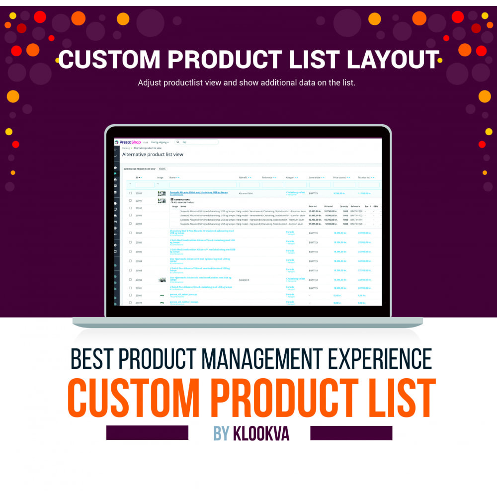 module - Additional Information & Product Tab - Alternative product list view in back-end - 1
