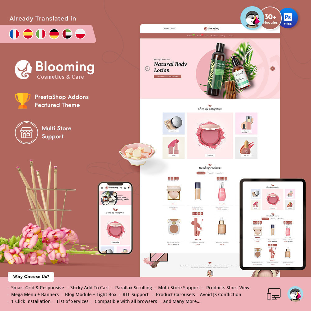 theme - Health & Beauty - Blooming Cosmetics & Skin Care - 1