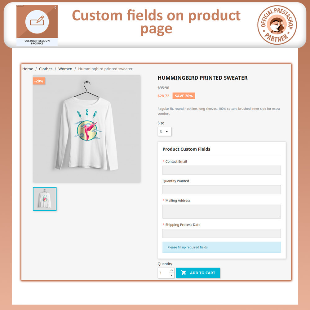 module - Information supplémentaire & Onglet produit - Add Custom Field to Product Page - 2