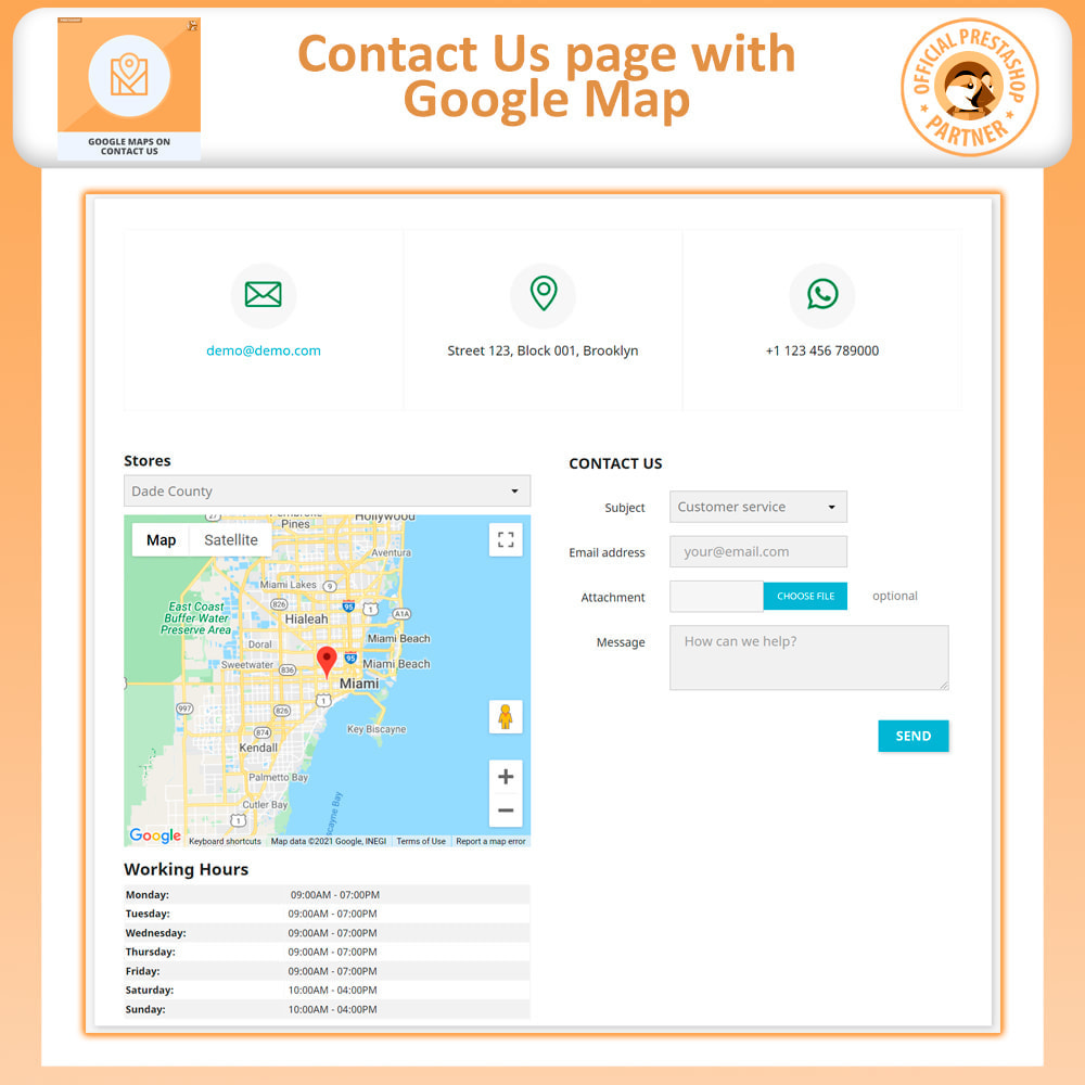 module - International & Localization - Google Maps on Contact us, with captcha, Multi store - 2