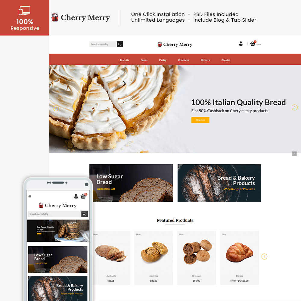 theme - Alimentation & Restauration - Cherry Merry Online Store - 1