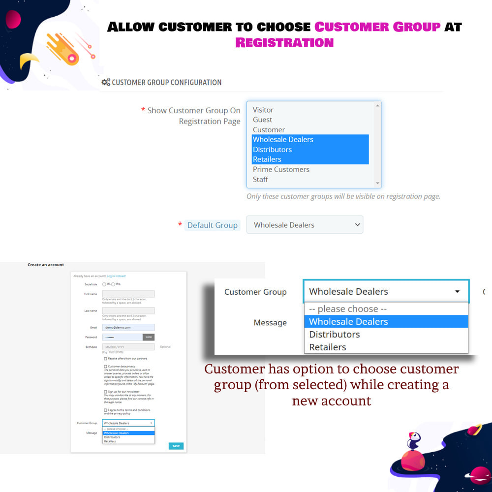 module - Customer Administration - Allow customer to choose Customer Group at Registration - 2