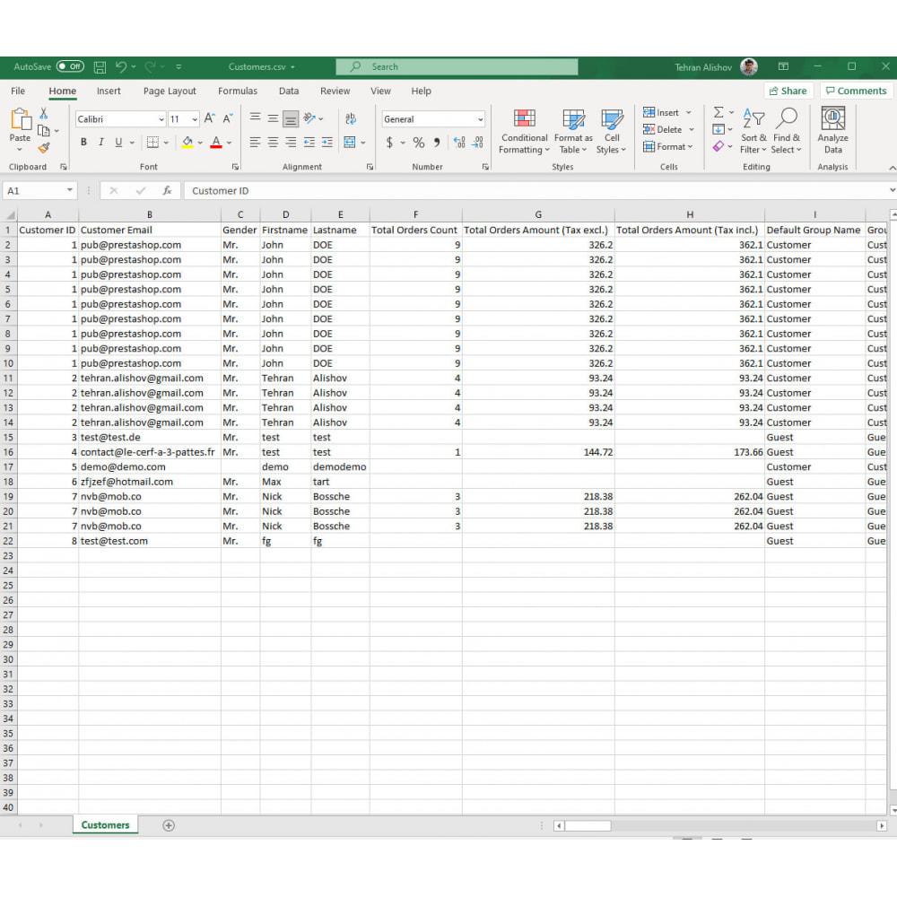 module - Data Import & Export - Customers Export Pro (Excel, CSV, XML, PDF) - 8