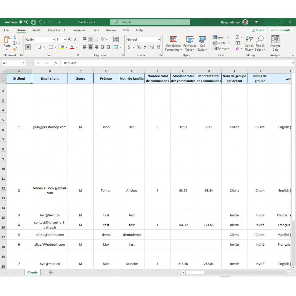 module - Import & Export de données - Exportation de Clients Pro (Excel, CSV, XML, PDF) - 7