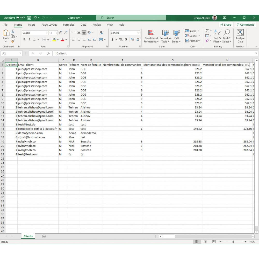 module - Import & Export de données - Exportation de Clients Pro (Excel, CSV, XML, PDF) - 8