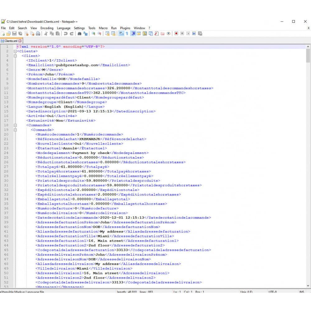 module - Import & Export de données - Exportation de Clients Pro (Excel, CSV, XML, PDF) - 9