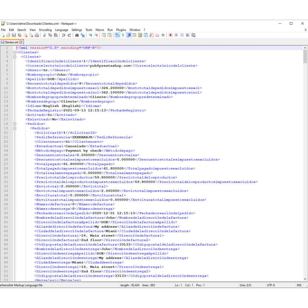module - Importación y Exportación de datos - Exportación de Clientes Pro (Excel, CSV, XML, PDF) - 9