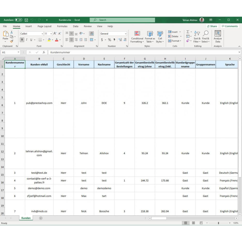 module - Daten Im-&Export - Kunden Export Pro (Excel, CSV, XML, PDF) - 7