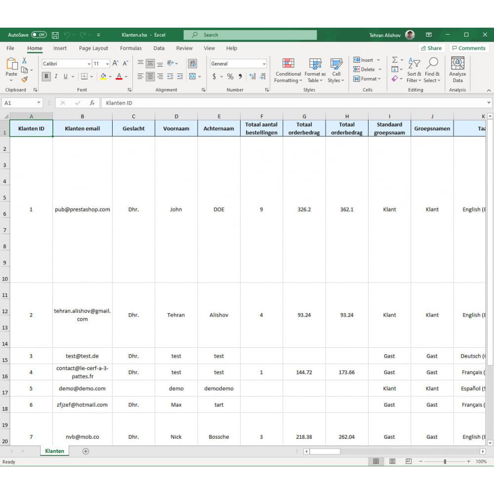 module - Importeren en Exporteren van data - Klanten Export Pro (Excel, CSV, XML, PDF) - 7