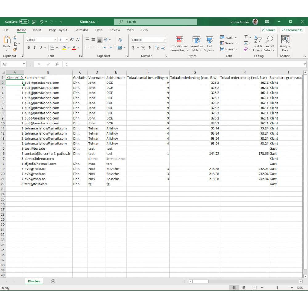 module - Importeren en Exporteren van data - Klanten Export Pro (Excel, CSV, XML, PDF) - 8