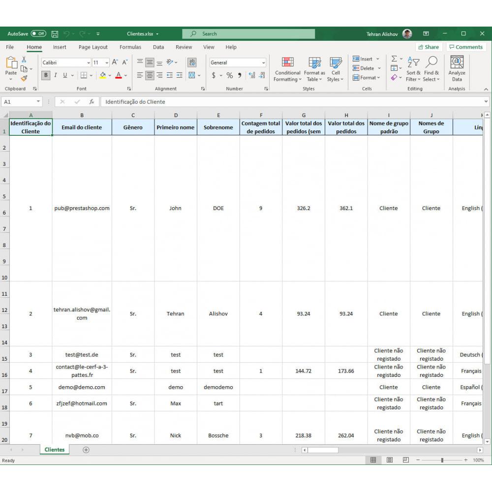 module - Importação & exportação de dados - Exportação de Clientes Pro (Excel, CSV, XML, PDF) - 7