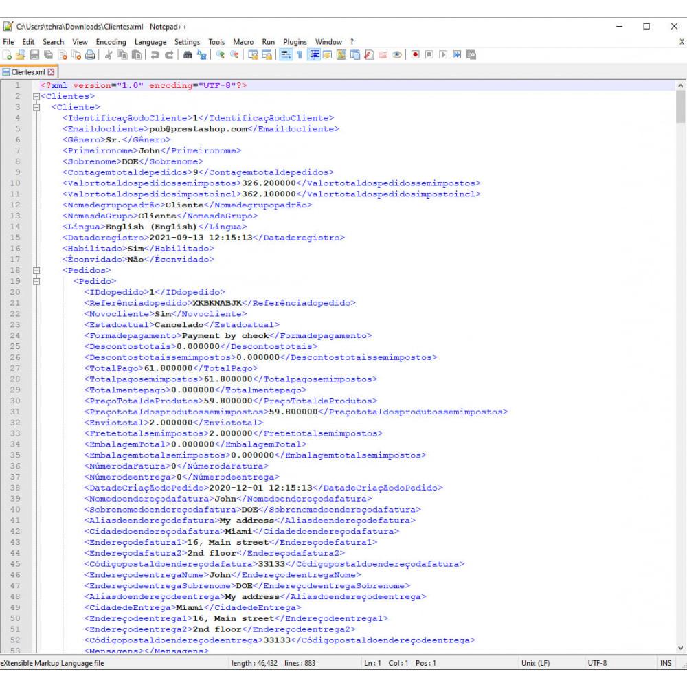module - Importação & exportação de dados - Exportação de Clientes Pro (Excel, CSV, XML, PDF) - 9