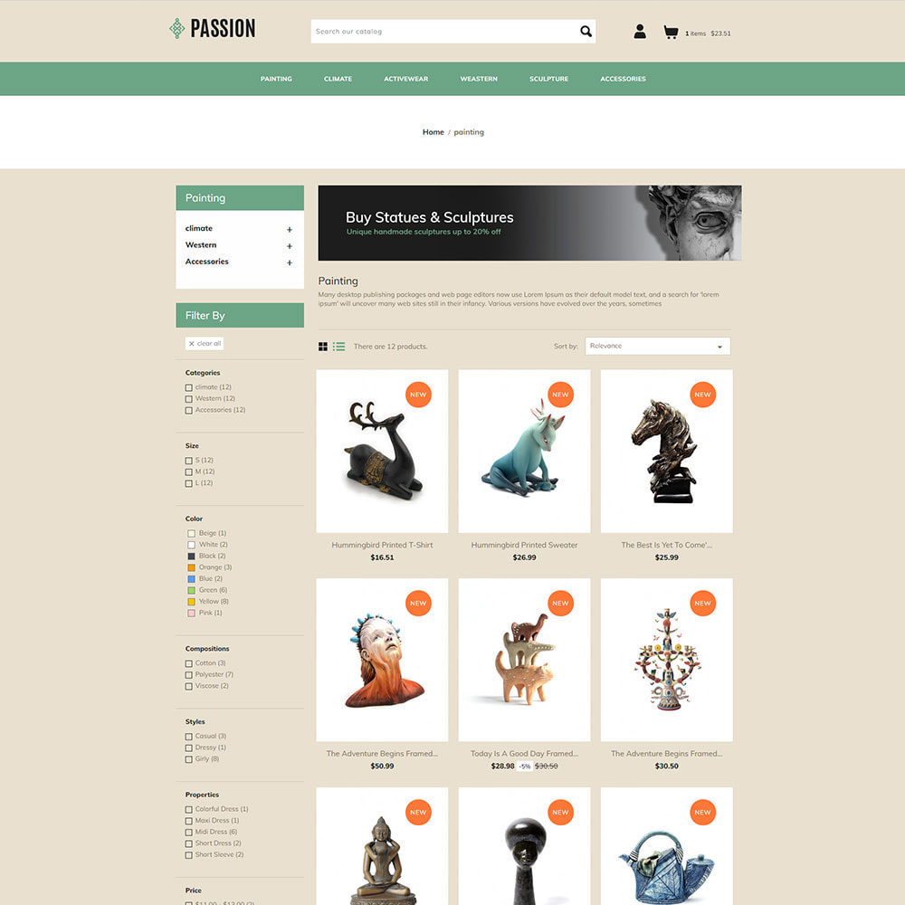 theme - Kultura & Sztuka - Passion Art  - Paint Handcraft Statue Store - 3