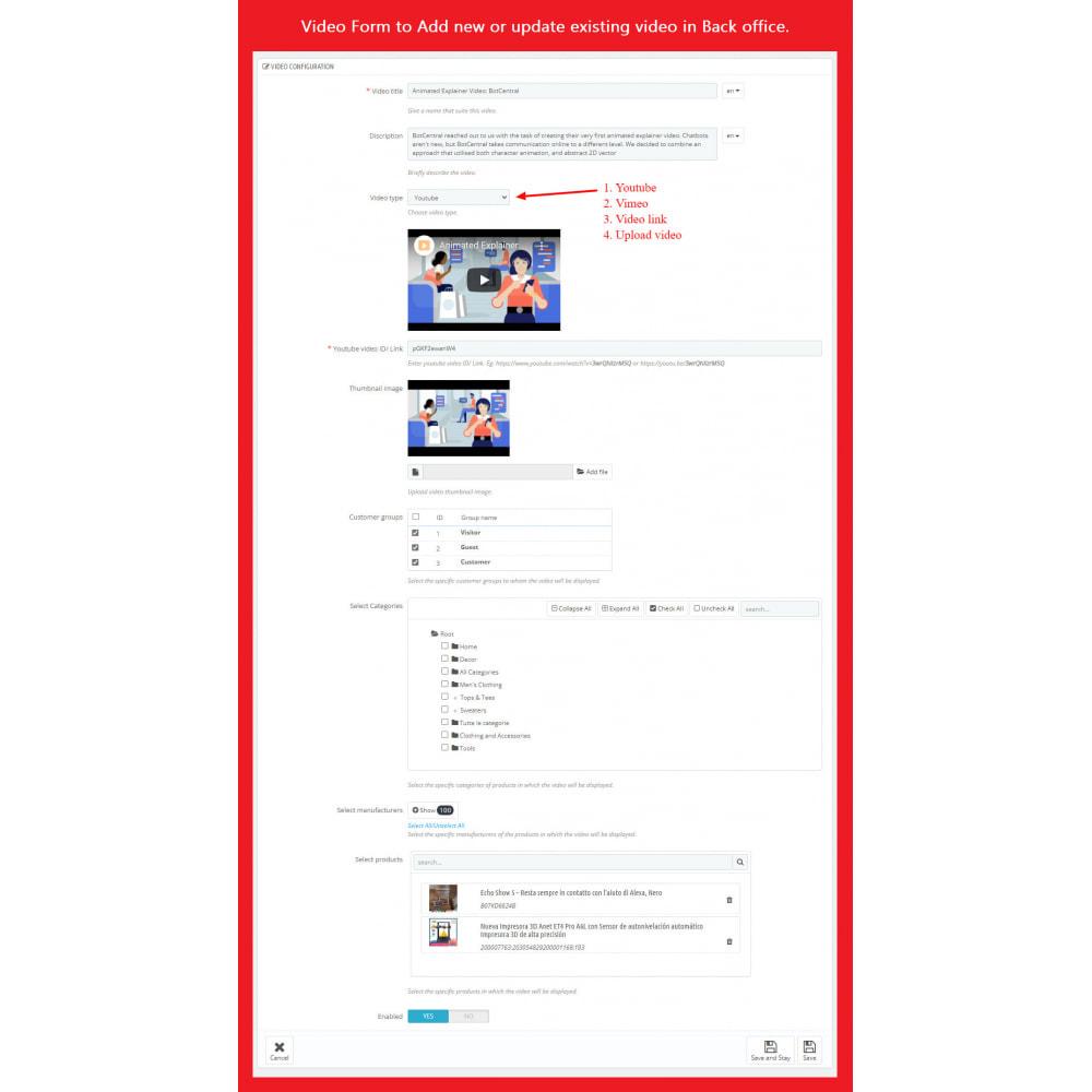 module - Videos & Music - Product Video (Youtube, Vimeo, Link, Upload) + SEO - 8