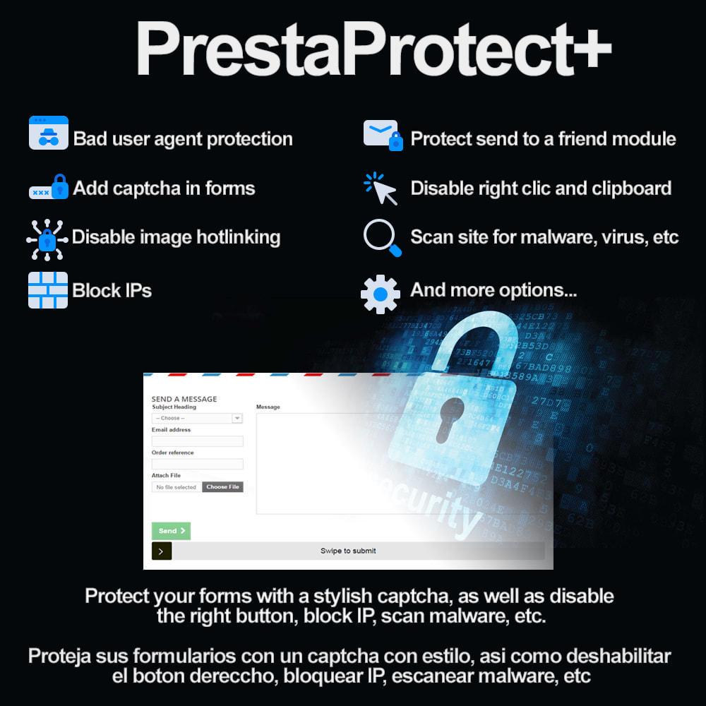 module - Security & Access - PrestaProtect Captcha+ / malware scanner / bot blocker - 1