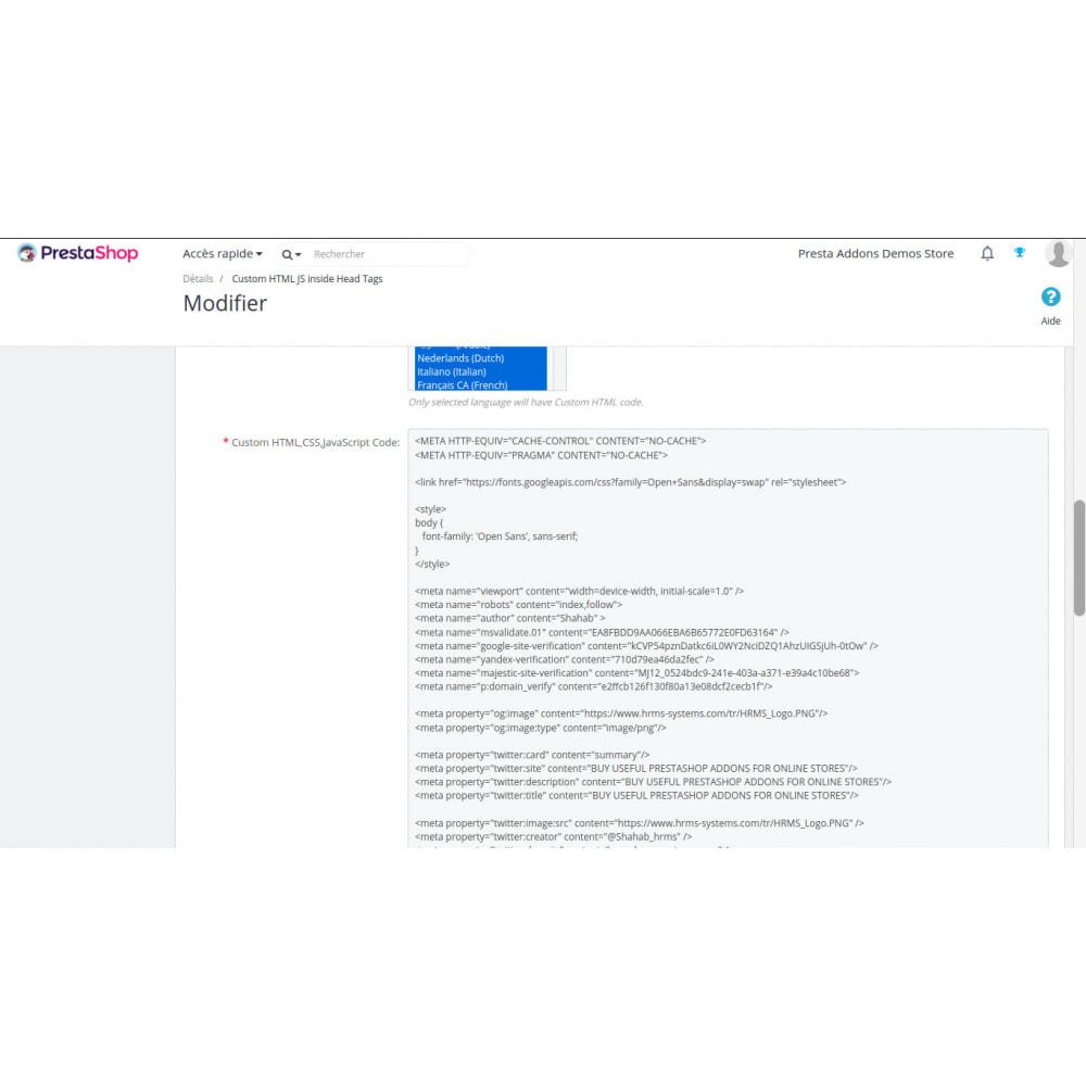 module - SEO - Aangepaste HTML, CSS, JS op geselecteerde pagina's - 4