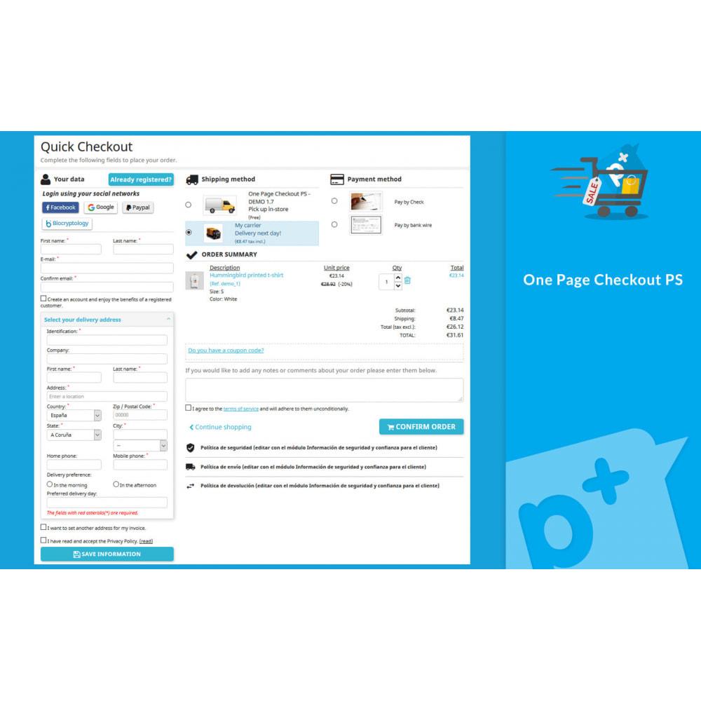 module - Processo de pedido - One Page Checkout PS (Easy, Fast & Intuitive) - 1