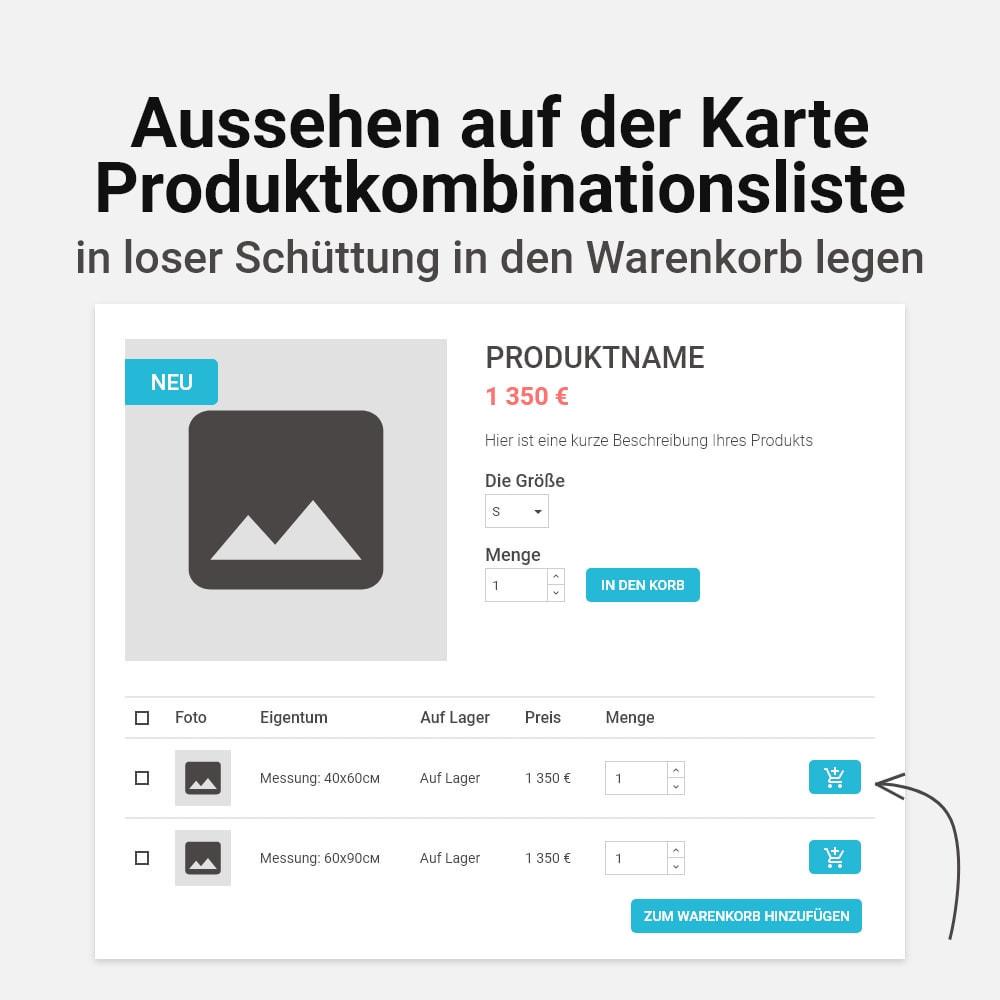 module - Individuelle Seitengestaltung - Mehrfaches Hinzufügen von Kombinationen zum Warenkorb - 2
