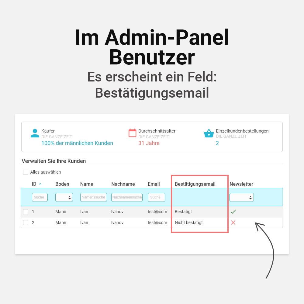 module - E-Mails & Benachrichtigungen - E-Mail Adresse bestätigen - 7