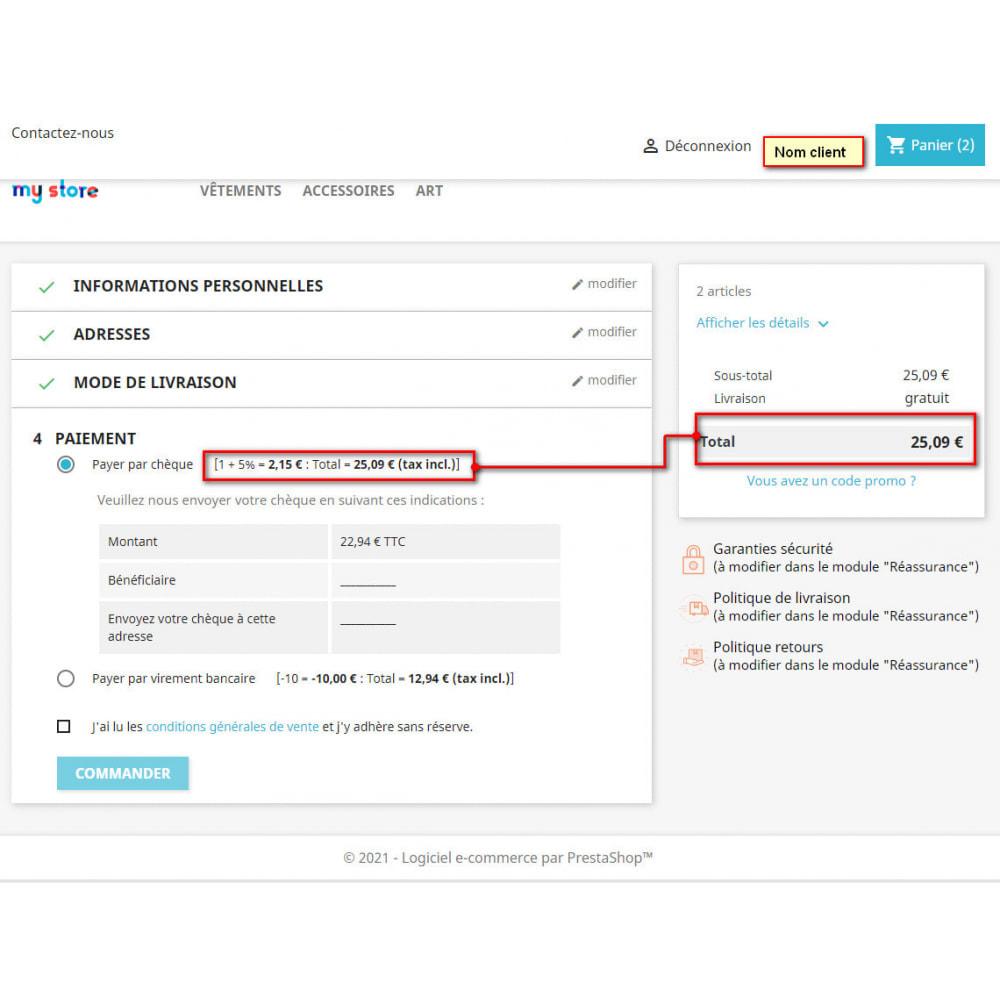 module - Autres moyens de paiement - Commissions et réductions sur les paiements - 2