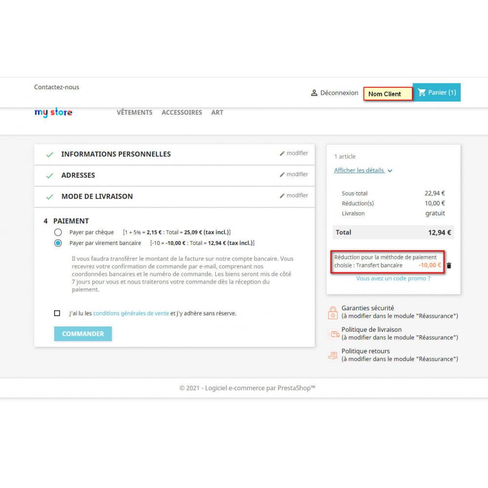 module - Autres moyens de paiement - Commissions et réductions sur les paiements - 3