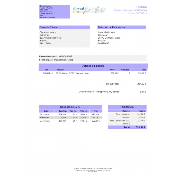 customized invoice prestashop addons