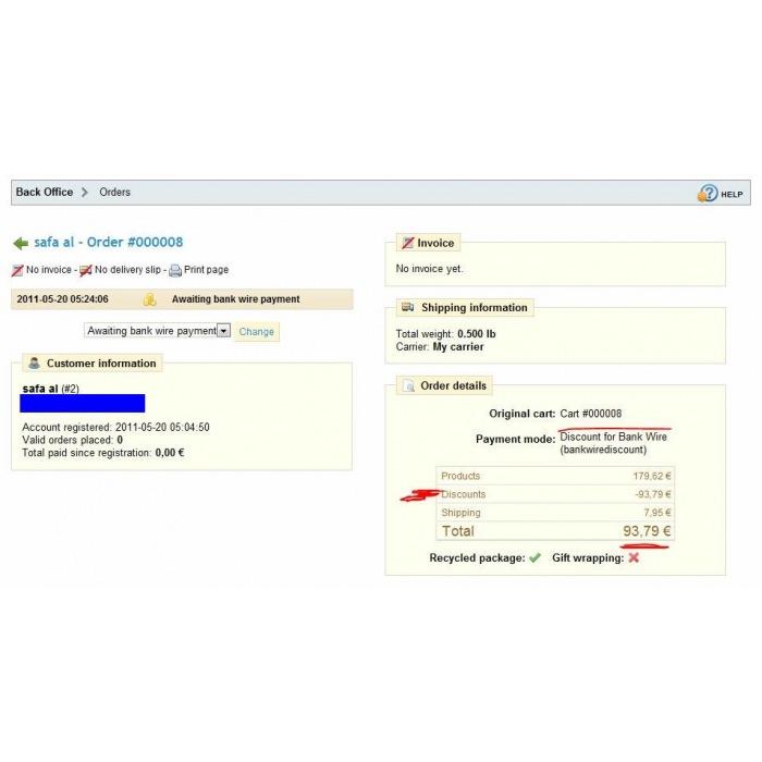 module - Pago por Transferencia - Bankwire with Discount - 1