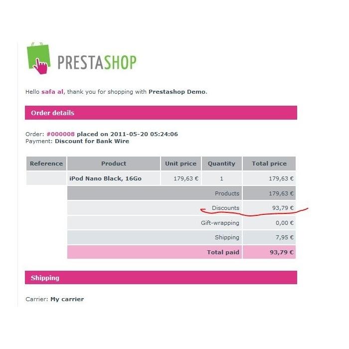 module - Pagamento por Transferência Bancária - Bankwire with Discount - 2