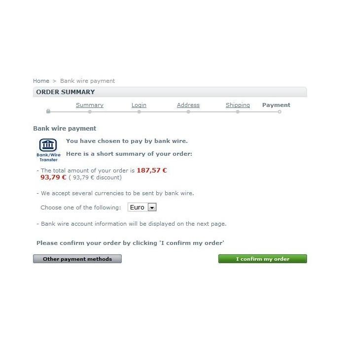 module - Pagamento por Transferência Bancária - Bankwire with Discount - 5