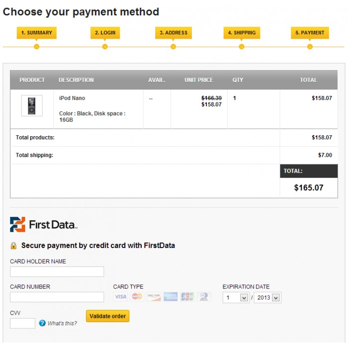 module - Pago con Tarjeta o Carteras digitales - First Data - 3