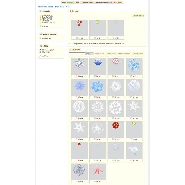module - Page Customization - Christmas flakes + New Year - 2