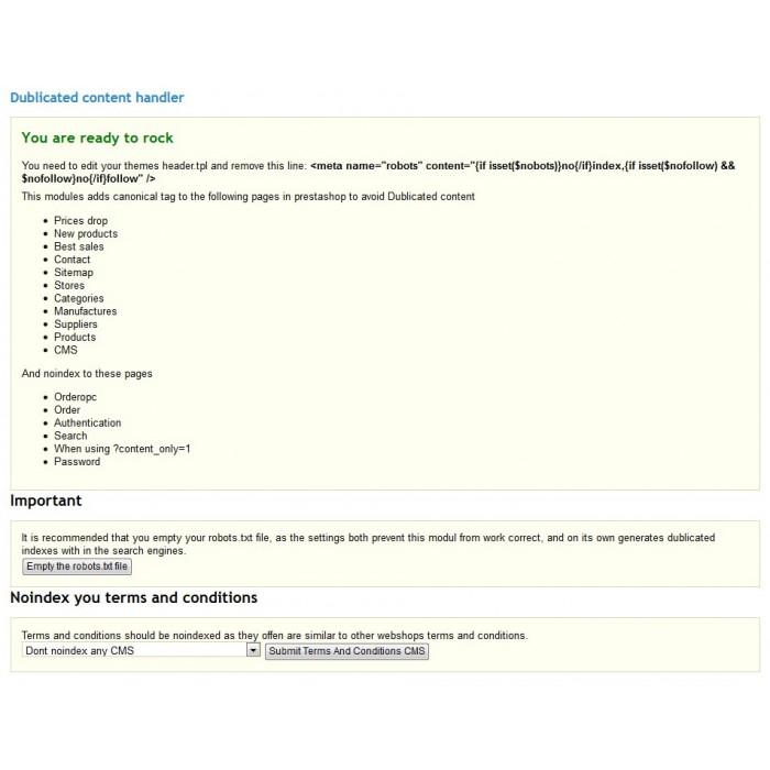 module - SEO (Posicionamiento en buscadores) - Duplicate Content handler - 2