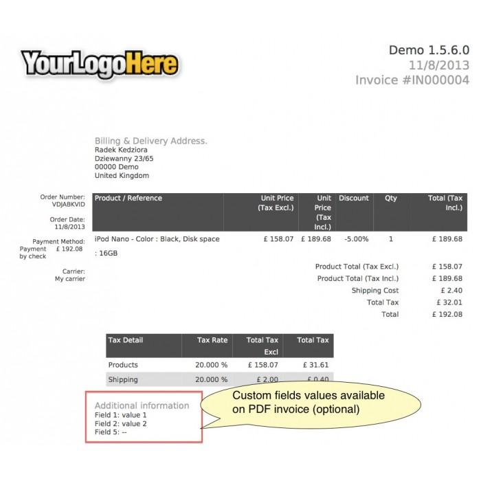 module - Registratie en Proces van bestellingen - Custom Fields - 39