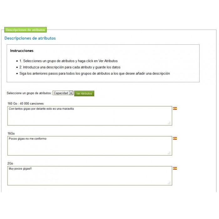 module - Combinaciones y Personalización de productos - Descripciones de atributos - 7