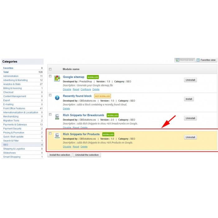 module - SEO (Posicionamiento en buscadores) - Google Rich Snippets en Productos - 5