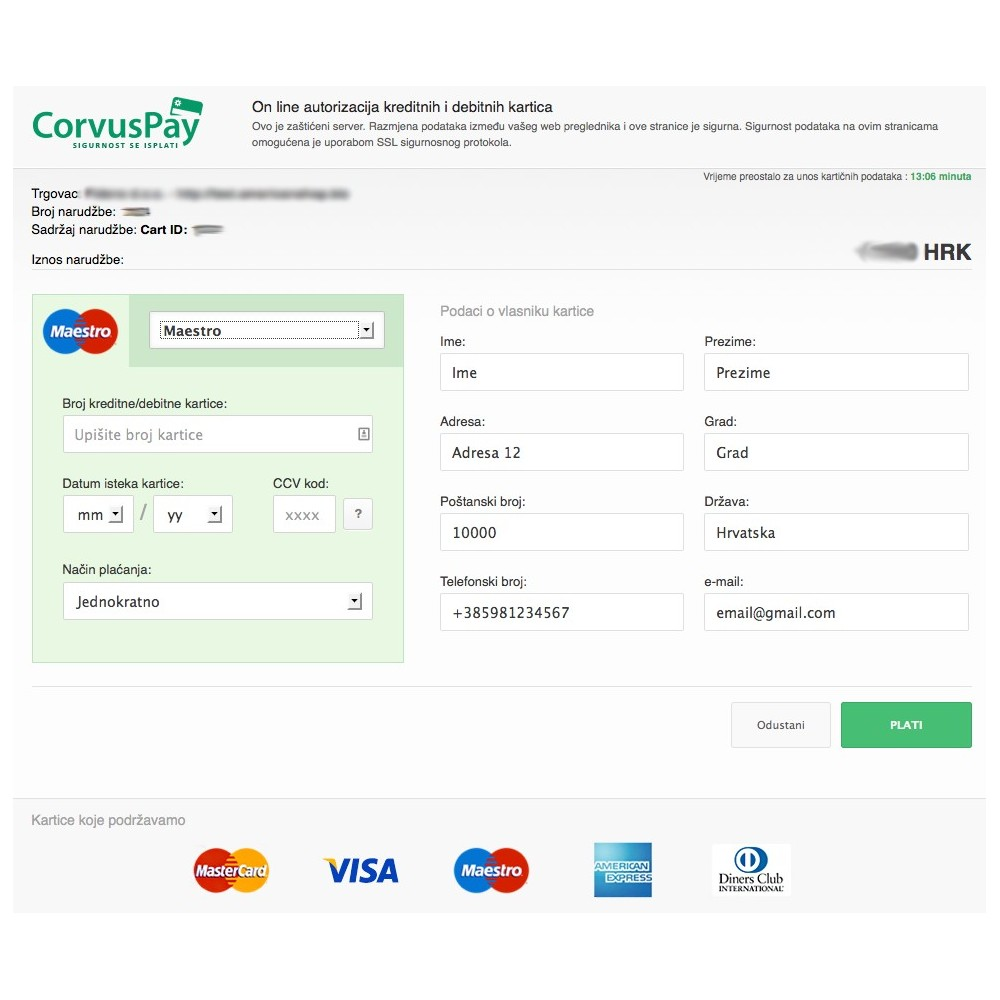 module - Creditcardbetaling of Walletbetaling - CorvusPay Form Service Integration - 3
